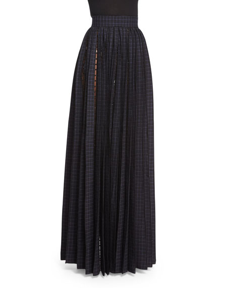 Marc Jacobs Beaded Tulle-Inset Pleated Maxi Skirt