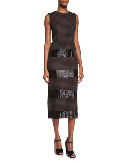 Marc Jacobs Beaded Striped Gingham Check Midi Dress