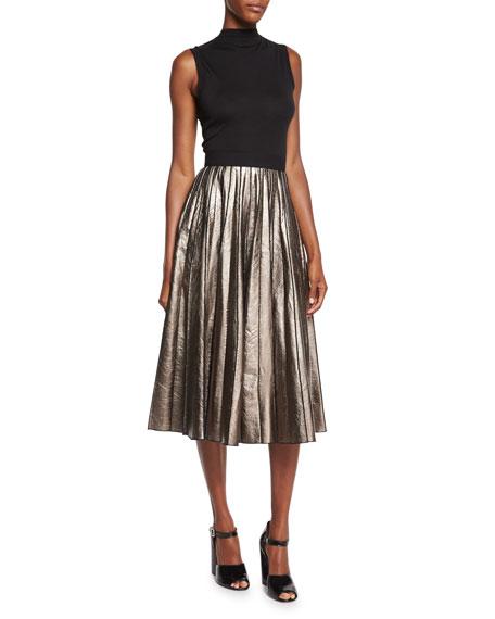 Pleated Metallic Leather Skirt