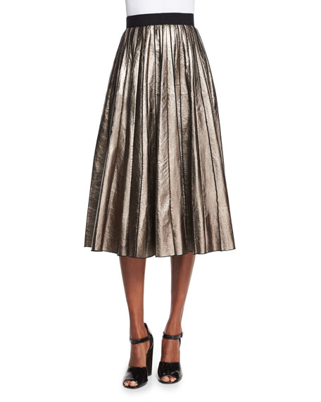 Pleated Metallic Leather Skirt