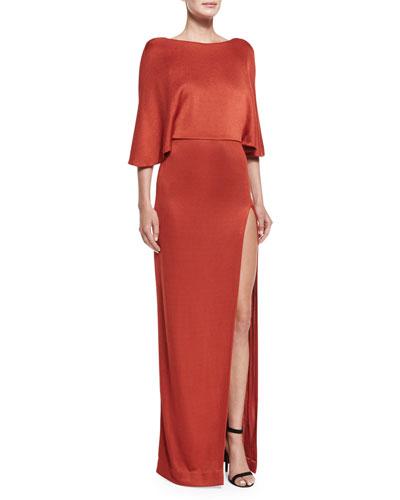 Layered Open-Back Slit Dress