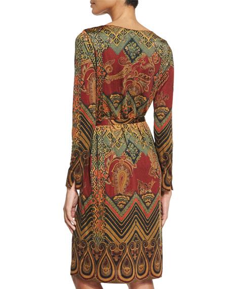Paisley-Print Belted Dress, Brick