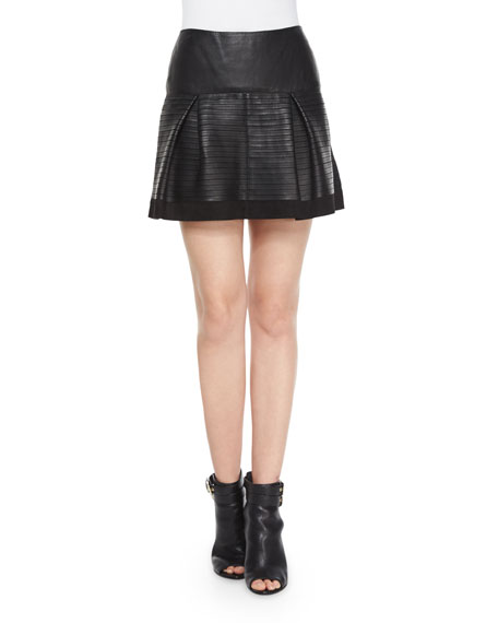 Burberry Brit Leather-Taped Suede Skirt