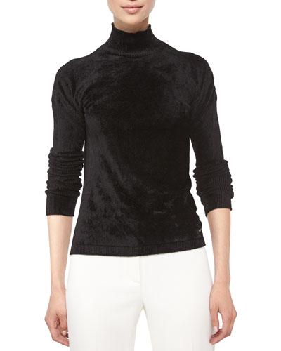 Mock-Neck Long-Sleeve Velvet Top, Black