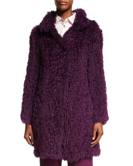 Curly Lamb Fur Long-Sleeve Coat, Amethyst
