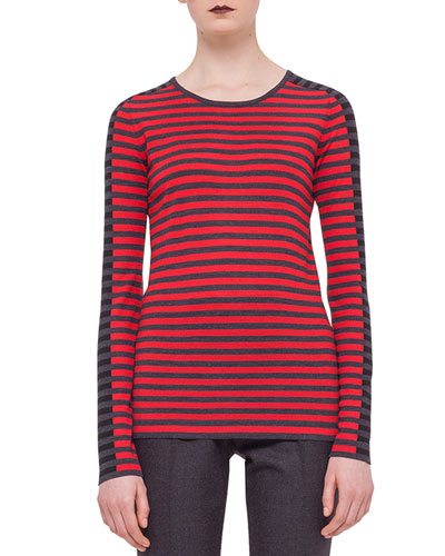 Striped Contrast-Trimmed Sweater, Cinnabar/Black Denim