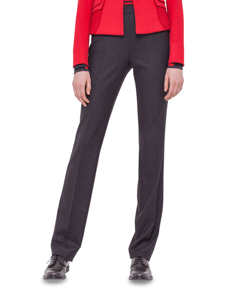 Akris punto Slim-Leg Contrast-Trim Pants, Black Denim