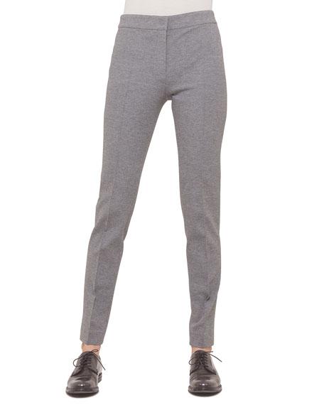Mara Seamed Skinny Jersey Pants, Silver