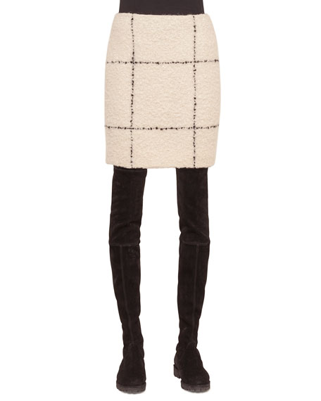 Akris punto Textured Check Short Pencil Skirt