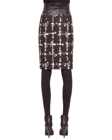 Faux-Leather High-Waist Button-Print Pencil Skirt