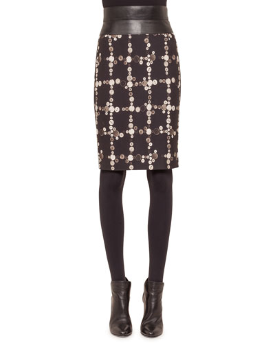 Faux-Leather High-Waist Button-Print Pencil Skirt