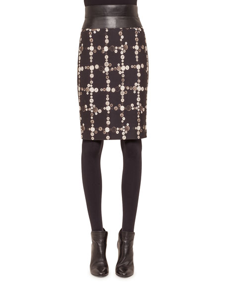 Akris punto Faux-Leather High-Waist Button-Print Pencil Skirt