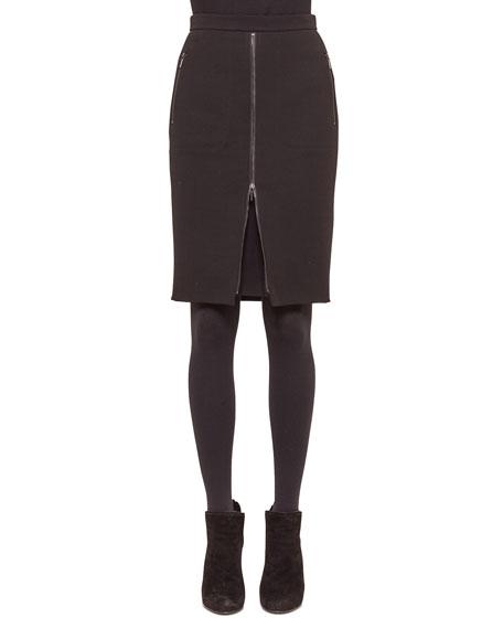 Zip-Front Zip-Pocket Pencil Skirt