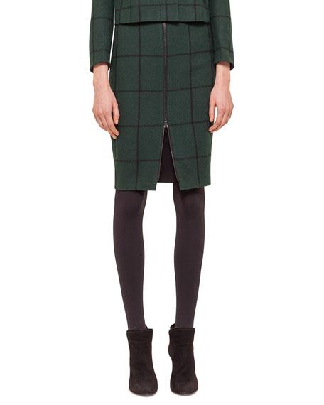 Akris punto Zip-Front Checked Pencil Skirt