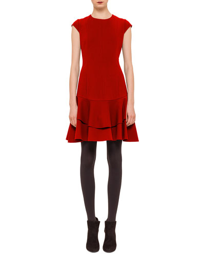 Seam-Paneled Jersey Flounce Dress, Cinnabar