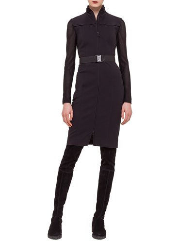 Zip-Front Contrast-Inset Jersey Dress