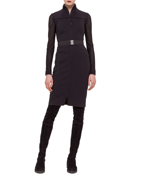 Akris punto Zip-Front Contrast-Inset Jersey Dress