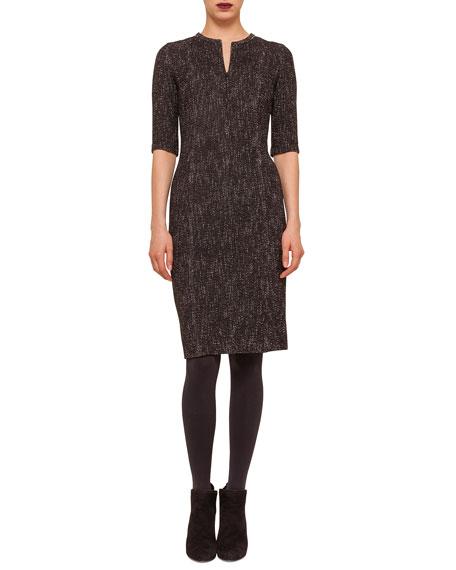 Akris punto Half-Sleeve Zip-Front Sheath Dress