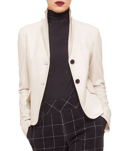 Two-Button Flap-Pocket Blazer