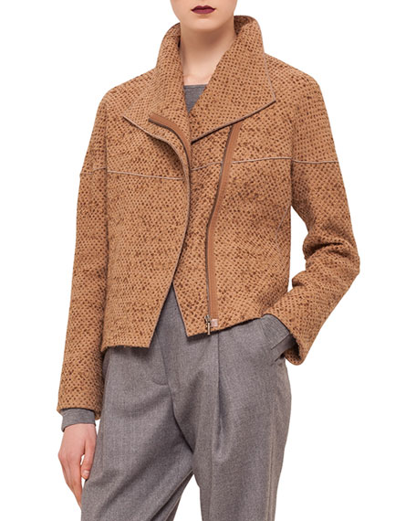 Akris punto Oversized-Collar Zip-Front Jacket, Camel