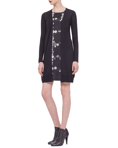 Button-Print Inset Cardigan Dress