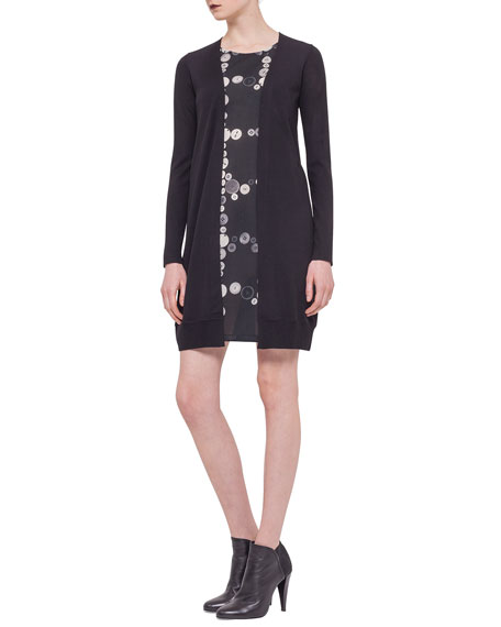 Akris punto Button-Print Inset Cardigan Dress