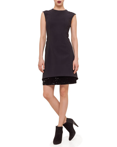Layered-Hem Sheath Dress, Black