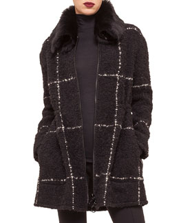 Shearling Fur-Collar Windowpane Check Coat