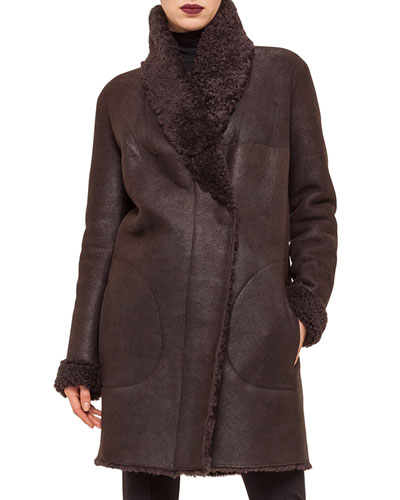 Shearling Fur Mid-Length Coat