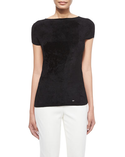 Cap-Sleeve Bateau-Neck Top, Black