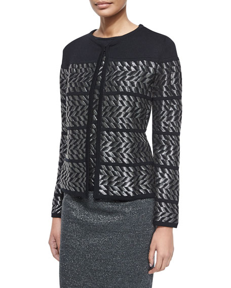 Escada Long-Sleeve Metallic Chevron Cardigan, Black