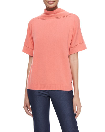 Short-Sleeve Cashmere Cowl-Back Sweater, Soft Coral