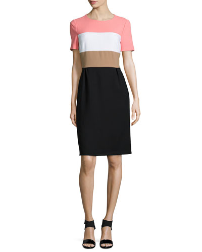 Short-Sleeve Colorblock Shift Dress, Multi Colors