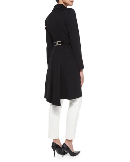Wool Long-Sleeve Coat, Black