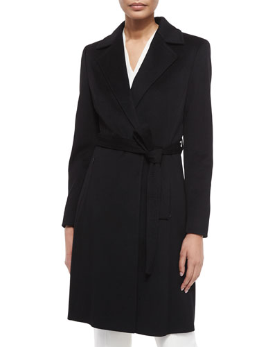 Wool Long-Sleeve Coat, Black