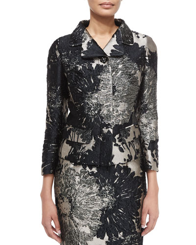 3/4-Sleeve Short Metallic Jacket, Black