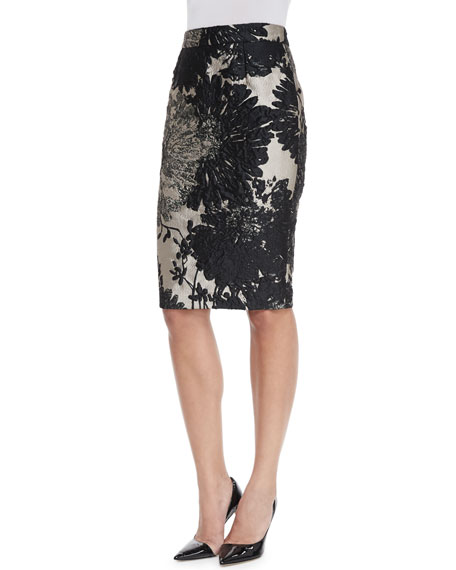 Escada High-Waist Pencil Skirt, Black Metallic