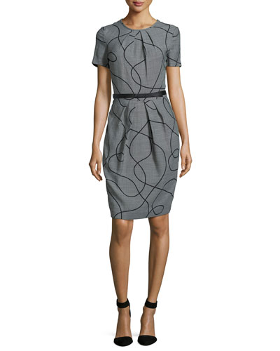 Short-Sleeve Swirl Fil-à-Fil Dress, Black