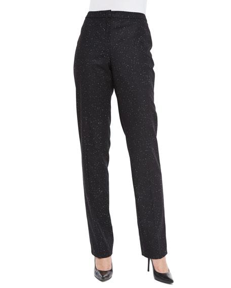 Escada Snowflake Classic Straight-Leg Pants, Black