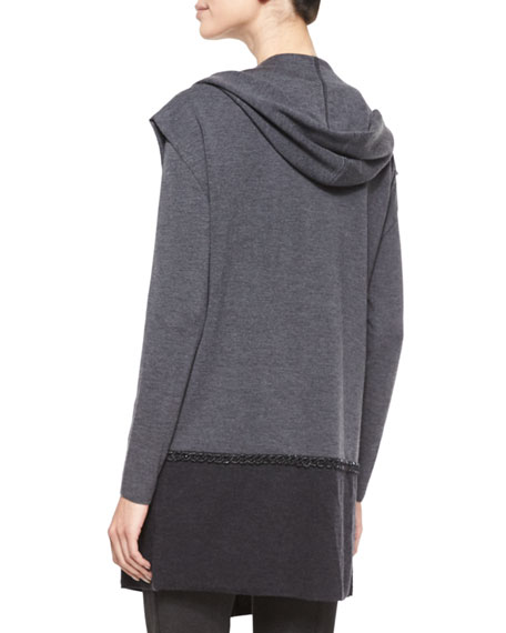 Embellished Chain-Detail Hooded Sweater, Gray
