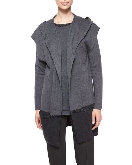 Escada Embellished Chain-Detail Hooded Sweater, Gray