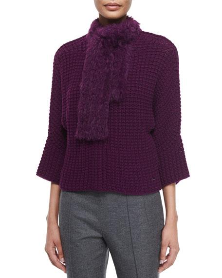 Escada Crochet Cardigan W/Removable Fur Scarf, Amethyst