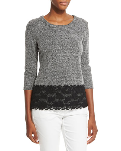 3/4-Sleeve Top W/Lace Hem, Black/White
