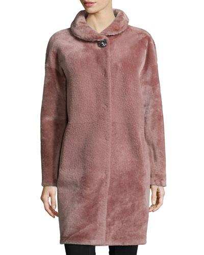 Long-Sleeve Lamb Fur Coat, Dark French Rose