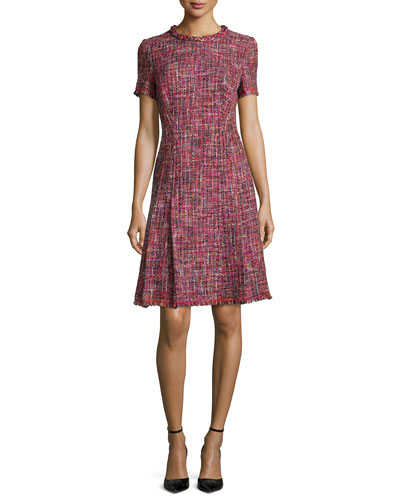 Braided-Trim Pleated Tweed Dress