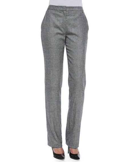 Escada Tamineh Glen-Check Straight-Leg Trousers, Black
