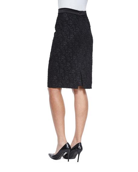 High-Waist Winter Lace Pencil Skirt, Black