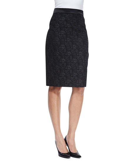 Escada High-Waist Winter Lace Pencil Skirt, Black