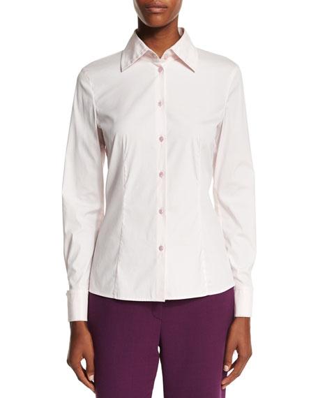 Escada Long-Sleeve Button-Front Blouse, Rose