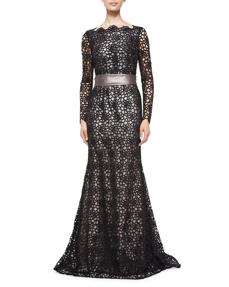 Escada Long-Sleeve Lace Gown, Black